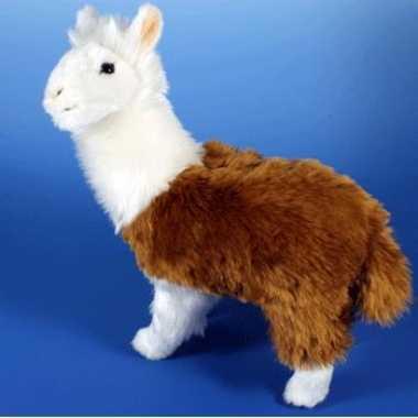 Bruin en witte lama knuffel 28 cm