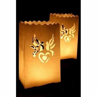 Bruine candle bags set hart en duif 10 stuks