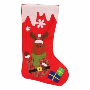 Cadeau sokken rood met rendier 39 cm