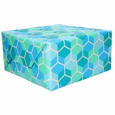 Cadeaupapier blauw grafisch 70 x 200 cm