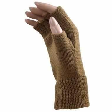 Camel bruine handschoenen vingerloos voor volwassenen