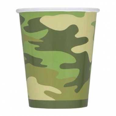 Camouflage bekers 8 stuks