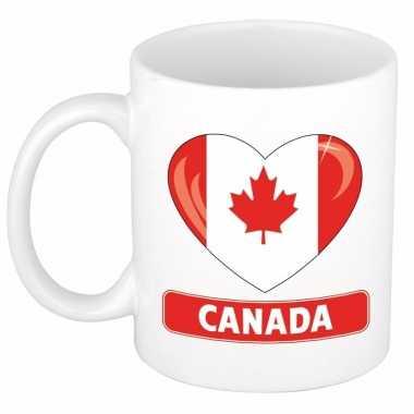 Canadese vlag hart mok / beker 300 ml