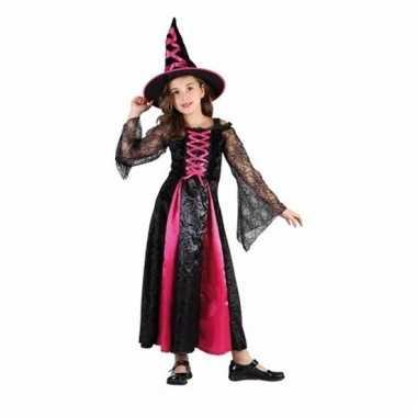Carnavals outfit roze heks jurk voor meisjes