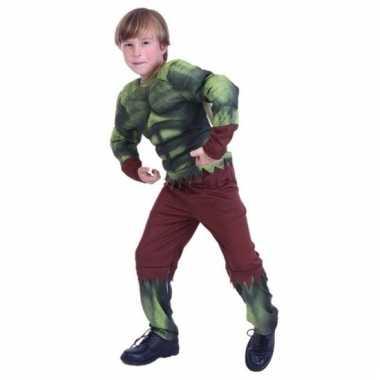 Carnavalskleding groene gespierde superheld voor jongens