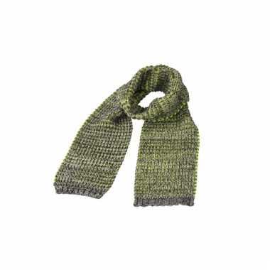 Casual gebreide sjaal grijs met geel