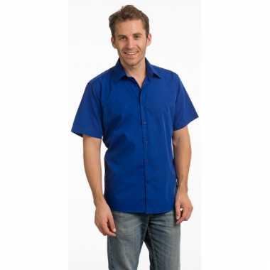 Casual overhemd blauw korte mouw