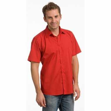 Casual overhemd rood korte mouw