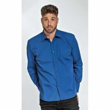 Casual overhemd royal blauw lange mouw