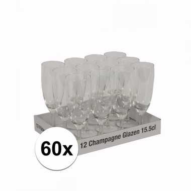 Champagne flutes tray 60 glazen