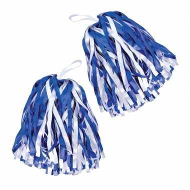 Cheerballs/pom poms in het blauw/wit