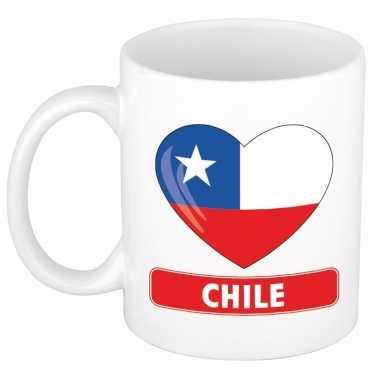 Chileense vlag hart mok / beker 300 ml