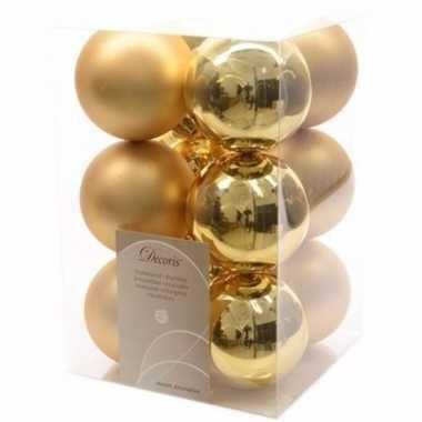 Chique christmas gouden kerstversiering kerstballen pakket 12 stuks