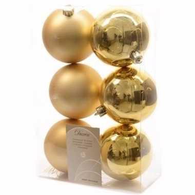 Chique christmas gouden kerstversiering kerstballen pakket 6 stuks