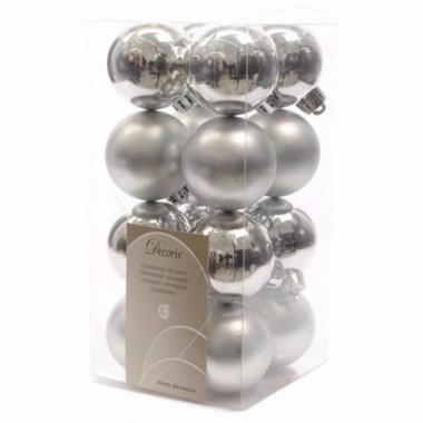 Chique christmas zilveren kerstversiering kleine kerstballen pakket 1