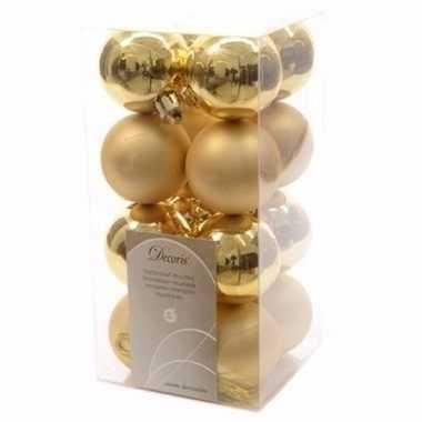 Christmas gold gouden kerstversiering kleine kerstballen pakket 16 st