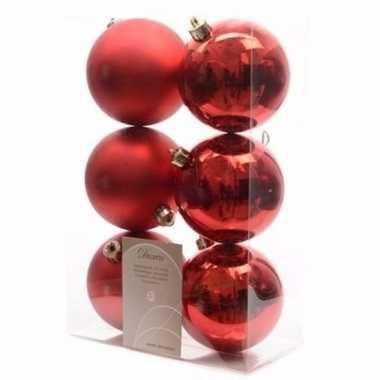 Christmas red rode kerstversiering kerstballen pakket 6 stuks