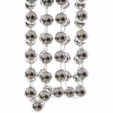 Christmas silver zilveren kerstversiering grote kralenslinger 270 cm
