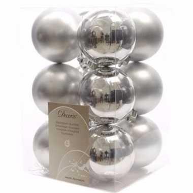 Christmas silver zilveren kerstversiering kerstballen pakket 12 stuks