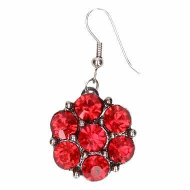 Chunkoorbellen zilveren rode steentjes voor volwassenen