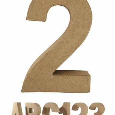 Cijfer 2 van papier mache voor decoratie