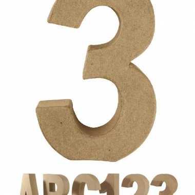 Cijfer 3 van papier mache voor decoratie