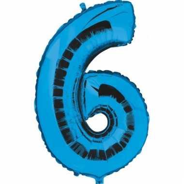 Cijfer ballon in blauw 6