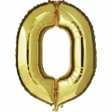 Cijfer ballon in goud 0