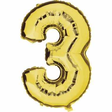 Cijfer ballon in goud 3