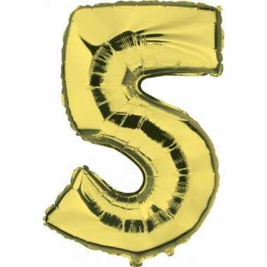 Cijfer ballon in goud 5
