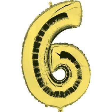 Cijfer ballon in goud 6