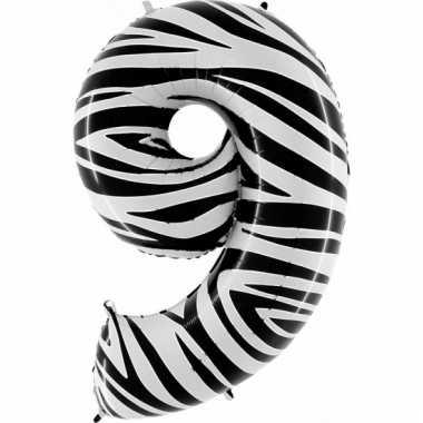 Cijfer ballon in zebra 9