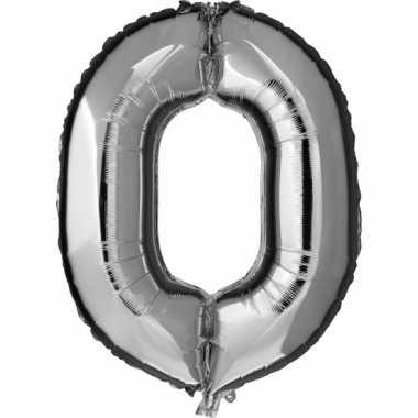 Cijfer ballon in zilver 0