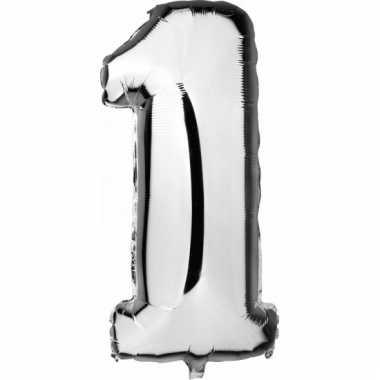 Cijfer ballon in zilver 1