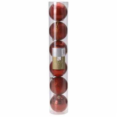 Classic red rode kerstversiering ballen set 6 stuks