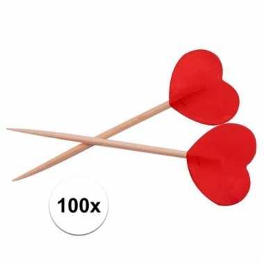Cocktailprikkers hartjes rood 100 stuks