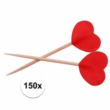Cocktailprikkers hartjes rood 150 stuks