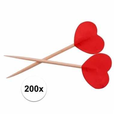 Cocktailprikkers hartjes rood 200 stuks