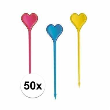 Cocktailprikkers in hartvorm 50 stuks