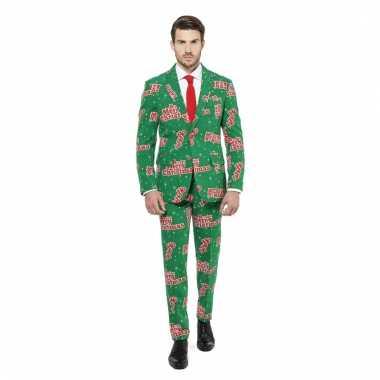 Compleet kostuum groen met kerst print