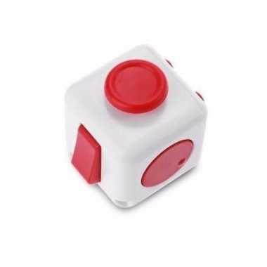 Concentratie fidget cube wit/rood