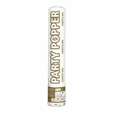 Confetti knaller metallic goud/zilver 26 cm
