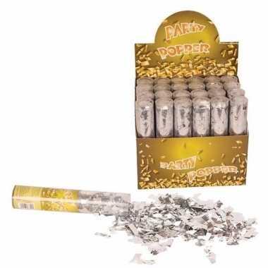 Confetti knaller zilver 20 cm