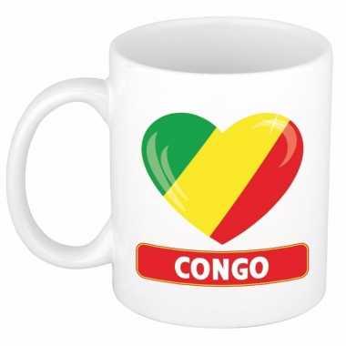 Congolese vlag hart mok / beker 300 ml