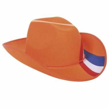 Cowboy hoed in oranje kleur