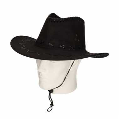 Cowboyhoed zwart suede look 59 cm