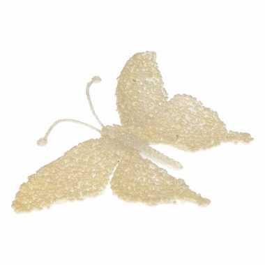 Creme kerstboom decoratie glitter vlinder