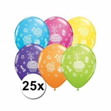 Cupcake feest ballonnen 25 stuks