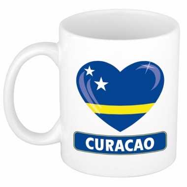 Curacao vlag hart mok / beker 300 ml