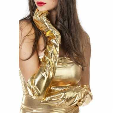 Dames gala handschoenen lang goud